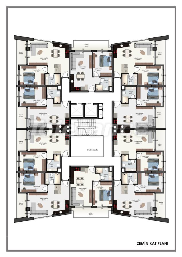 Современные апартаменты в центре Алании от застройщика с возможностью рассрочки до 6 месяцев - 22604 | Tolerance Homes