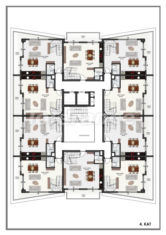 Современные апартаменты в центре Алании от застройщика с возможностью рассрочки до 6 месяцев - 22606 | Tolerance Homes