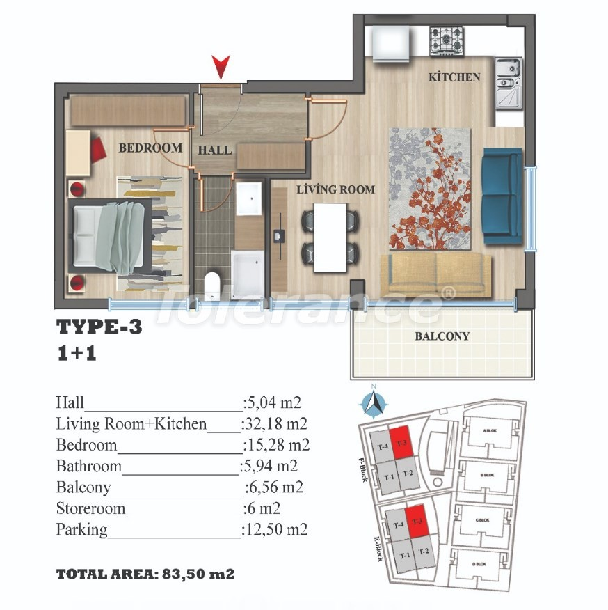 Стильные квартиры в Ларе, Анталия в современном комплексе с открытым бассейном - 22691 | Tolerance Homes