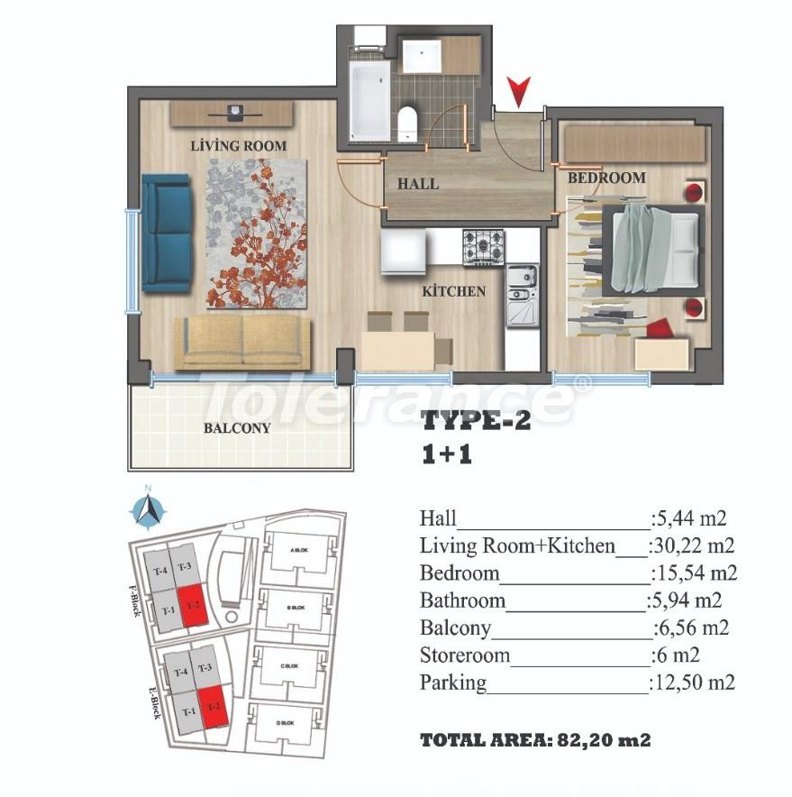 Стильные квартиры в Ларе, Анталия в современном комплексе с открытым бассейном - 22687 | Tolerance Homes