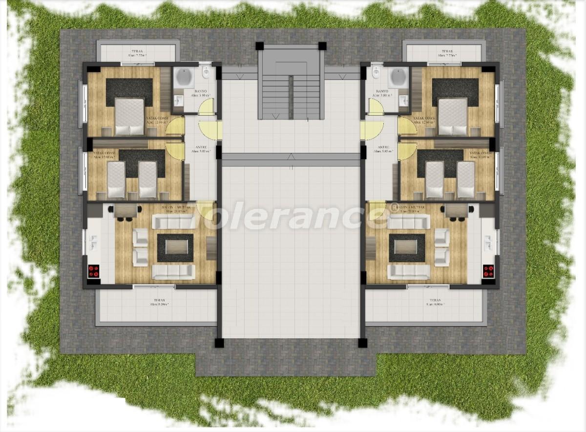 Современные квартиры в Арсланбуджаке, Кемер в комплексе с бассейном - 24093 | Tolerance Homes