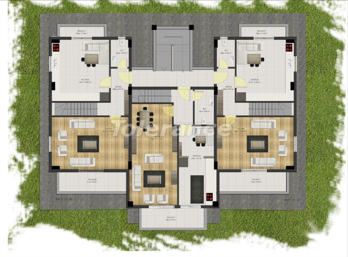 Современные квартиры в Арсланбуджаке, Кемер в комплексе с бассейном - 24092 | Tolerance Homes