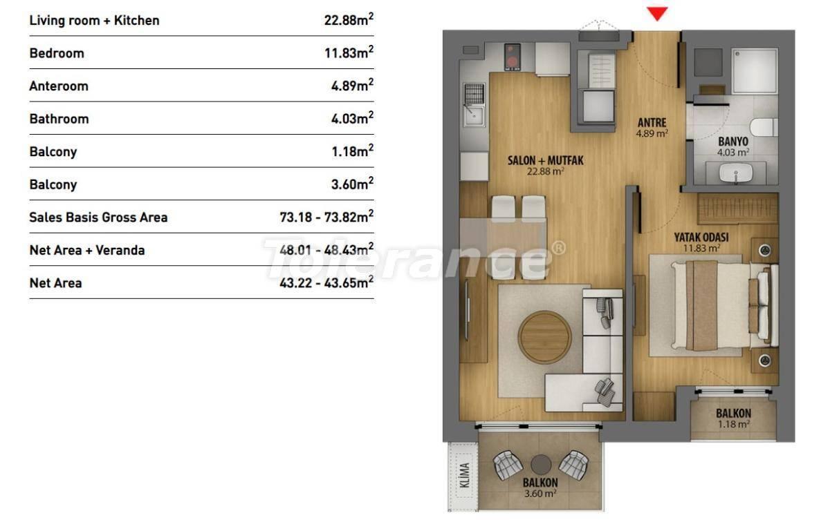 Современные квартиры в Стамбуле в комплексе с богатой инфраструктурой и видом на море - 26939 | Tolerance Homes