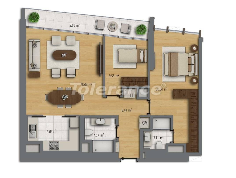 Современные квартиры в Шишли, Стамбул в комплексе с богатой инфраструктурой с рассрочкой от застройщика - 27189 | Tolerance Homes