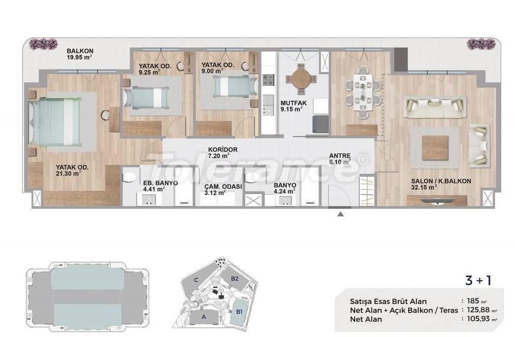 Квартиры класса люкс в Авджиларе, Стамбул в комплексе с богатой инфраструктурой и с видом на озеро - 27694   Tolerance Homes