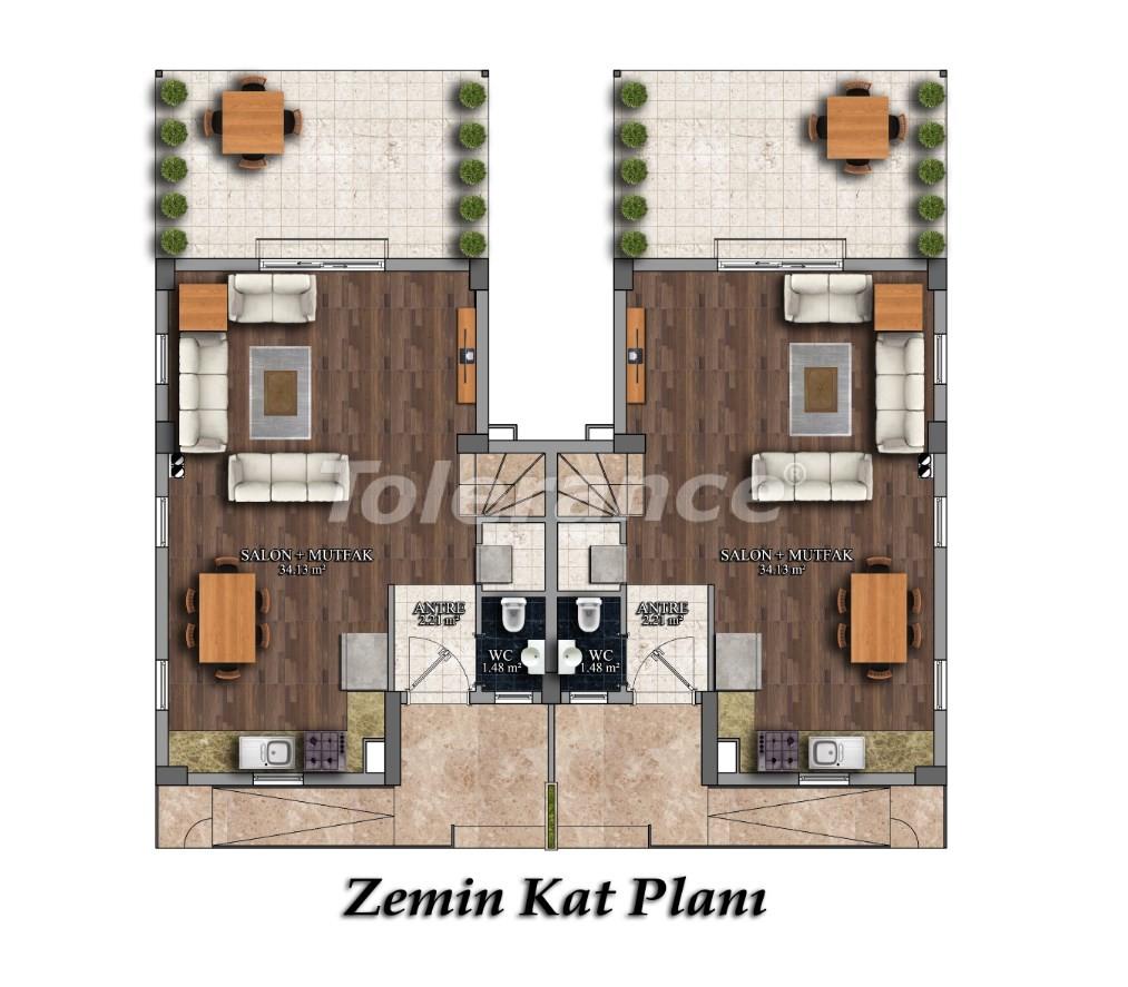 Трехкомнатные квартиры в Арсланбуджаке, Кемер в комплексе с бассейном - 26853 | Tolerance Homes