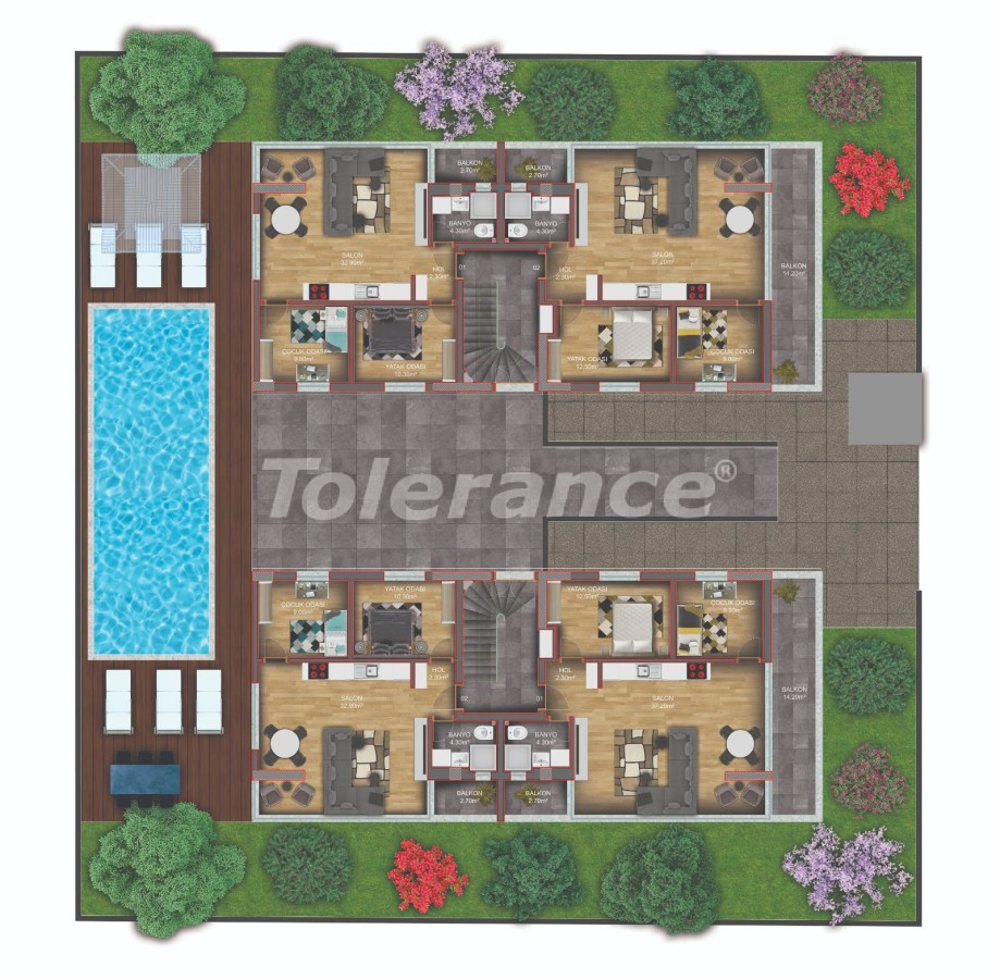 Квартиры класса люкс в Гюзелоба, Анталия в комплексе с бассейном рядом с морем - 31232 | Tolerance Homes