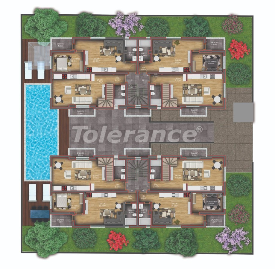 Квартиры класса люкс в Гюзелоба, Анталия в комплексе с бассейном рядом с морем - 31234 | Tolerance Homes