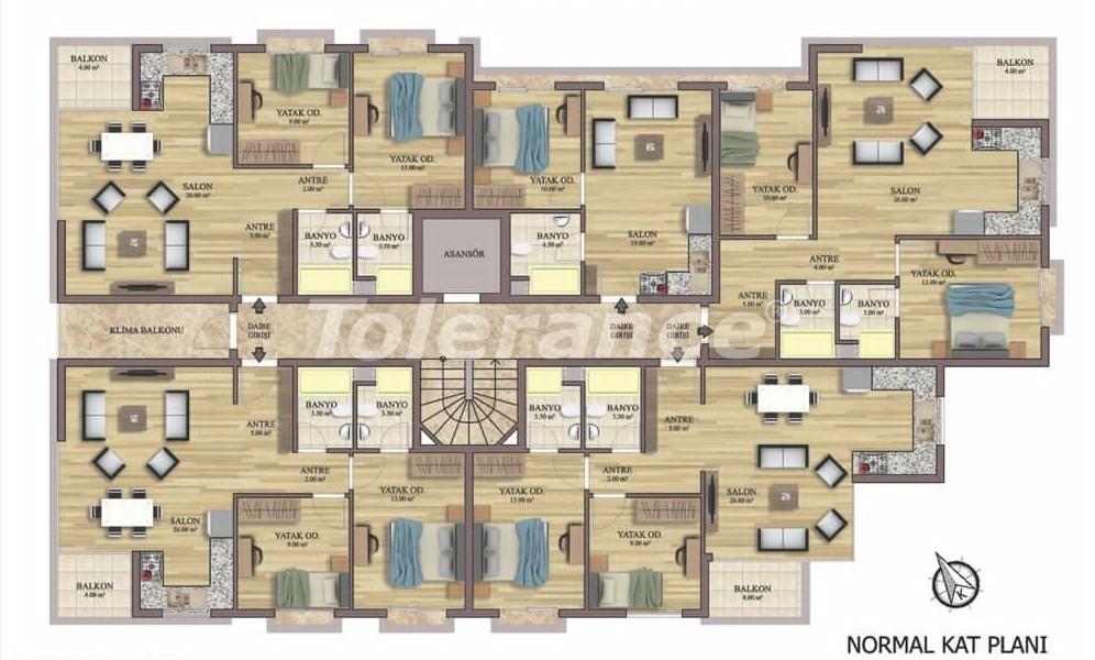 Квартиры класса люкс в Хурме, Коньяалты от надежного застройщика, в рассрочку - 31830   Tolerance Homes