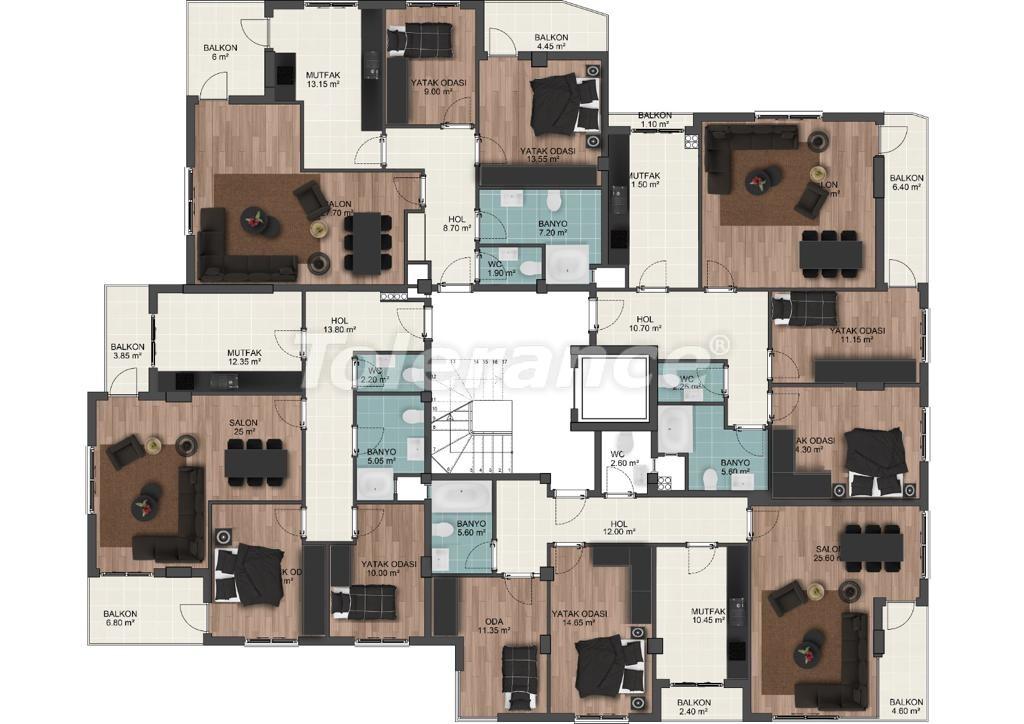 Просторные квартиры в Муратпаша, Анталья от застройщика - 33222 | Tolerance Homes