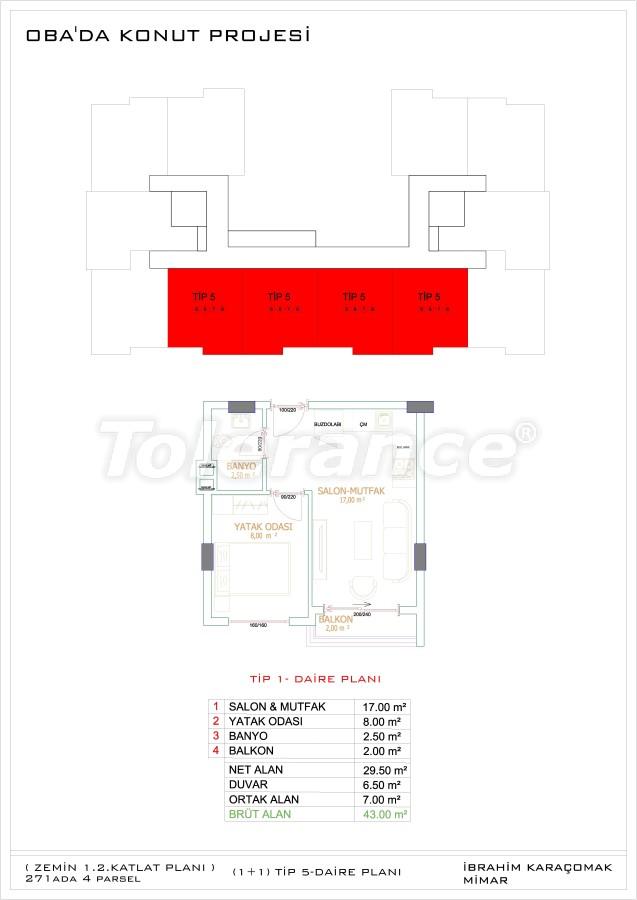 Недорогие и уютные апартаменты в новом комплексе в Алании, Оба - 33721   Tolerance Homes