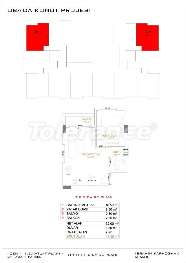 Недорогие и уютные апартаменты в новом комплексе в Алании, Оба - 33718   Tolerance Homes