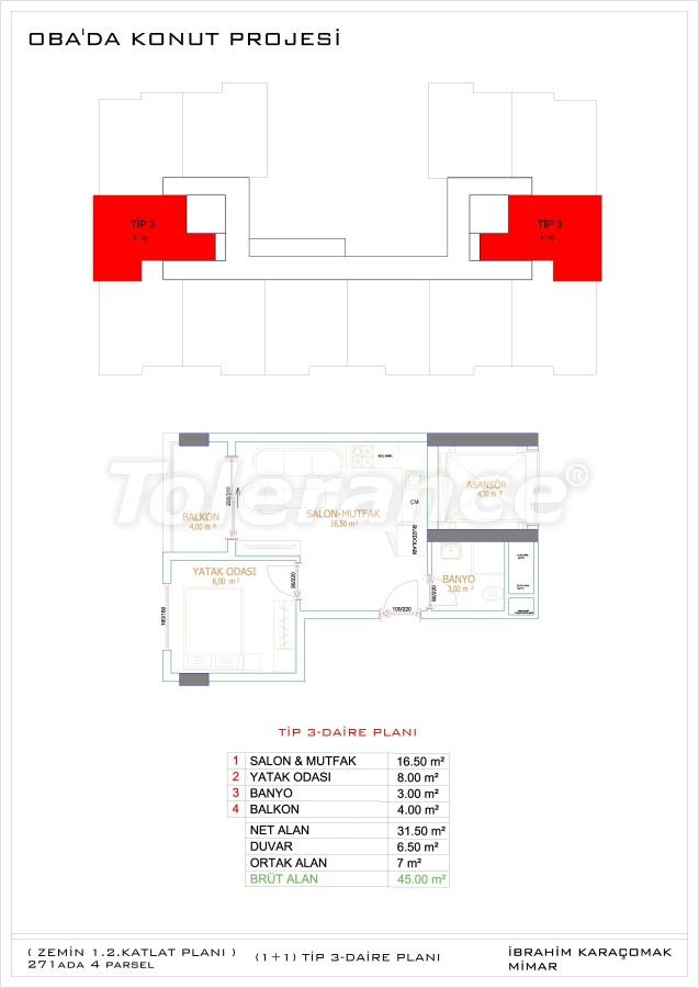 Недорогие и уютные апартаменты в новом комплексе в Алании, Оба - 33719   Tolerance Homes