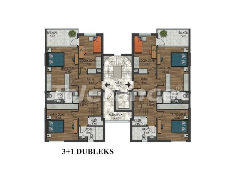 Четырехкомнатная квартира в Хурме, Коньяалты в комплексе с открытым и закрытым бассейнами - 34152 | Tolerance Homes