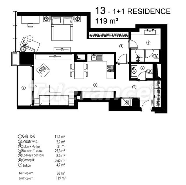 Современные квартиры в Сарыер, Стамбул с возможностью получения гражданства - 36075   Tolerance Homes
