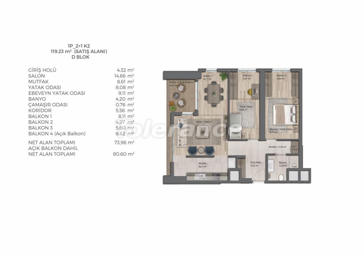 Современный комплекс с квартирами в Бахчешехире, Стамбуле в рассрочку на 9 лет от застройщика - 39078   Tolerance Homes