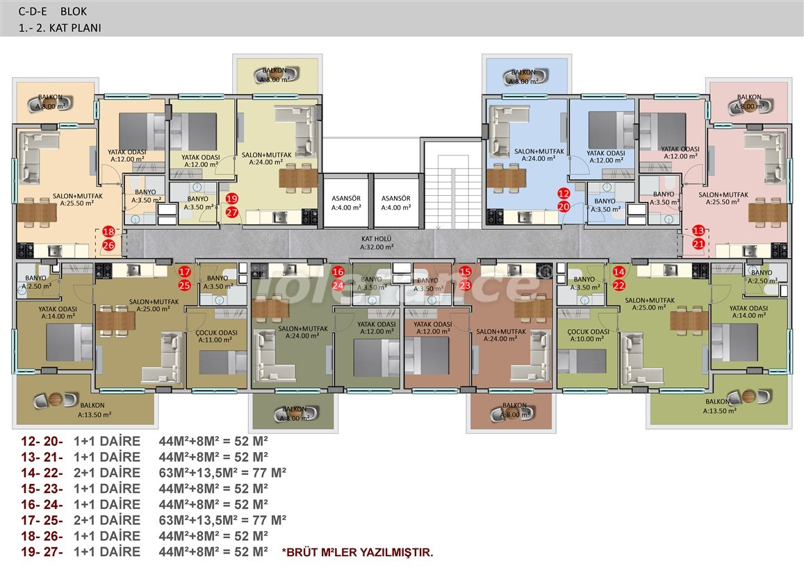 Элитные апартаменты в Оба, Алания в комплексе с бассейном - 39251   Tolerance Homes