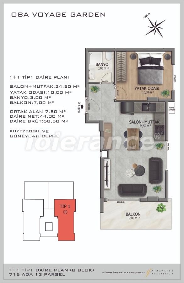 Современные апартаменты в Оба, Алания в комплексе гостиничного типа - 40085   Tolerance Homes