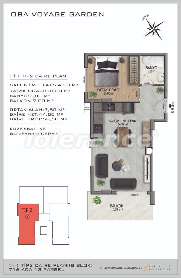 Современные апартаменты в Оба, Алания в комплексе гостиничного типа - 40086   Tolerance Homes