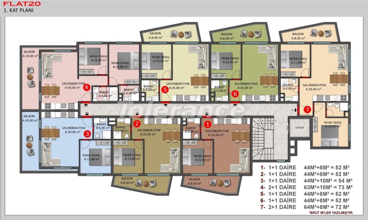 Современные квартиры в Кестеле, Алания в рассрочку от застройщика - 40383   Tolerance Homes