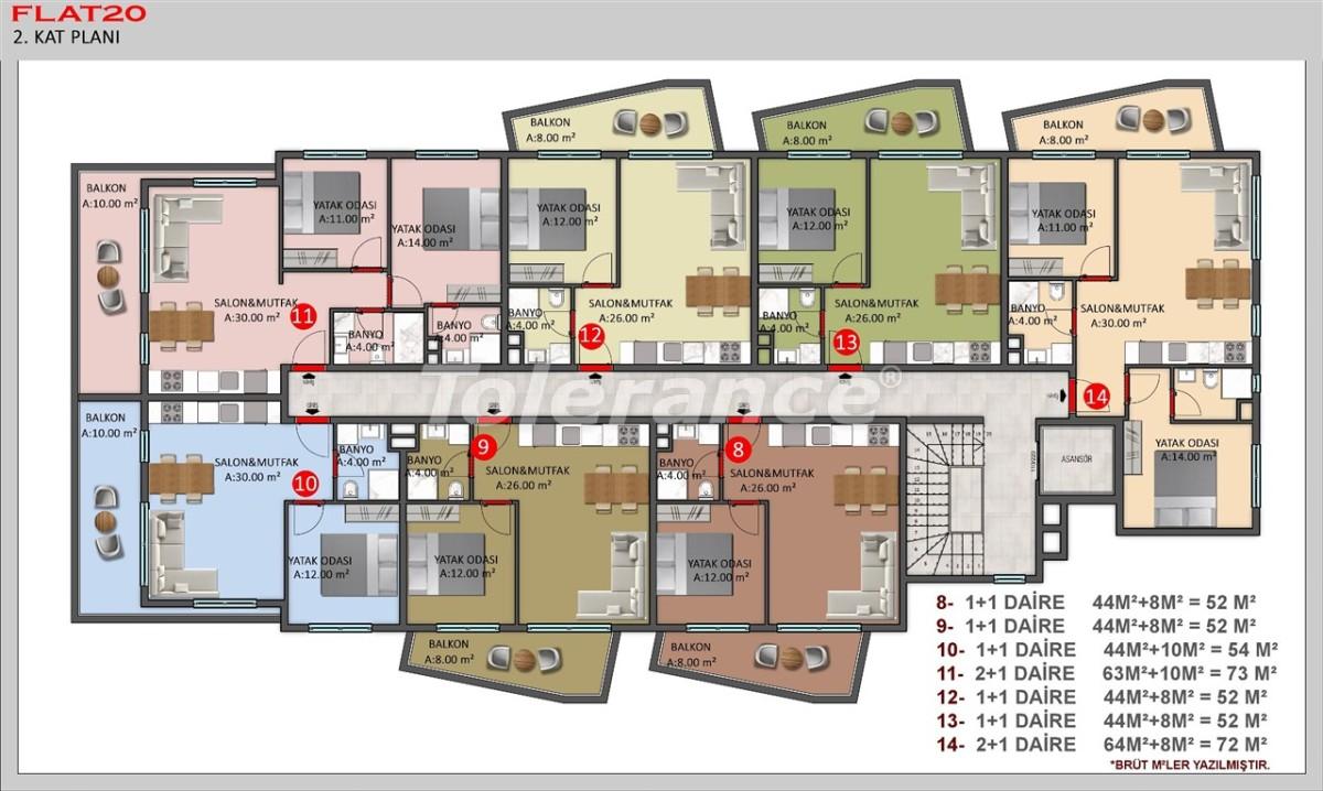 Современные квартиры в Кестеле, Алания в рассрочку от застройщика - 40384   Tolerance Homes