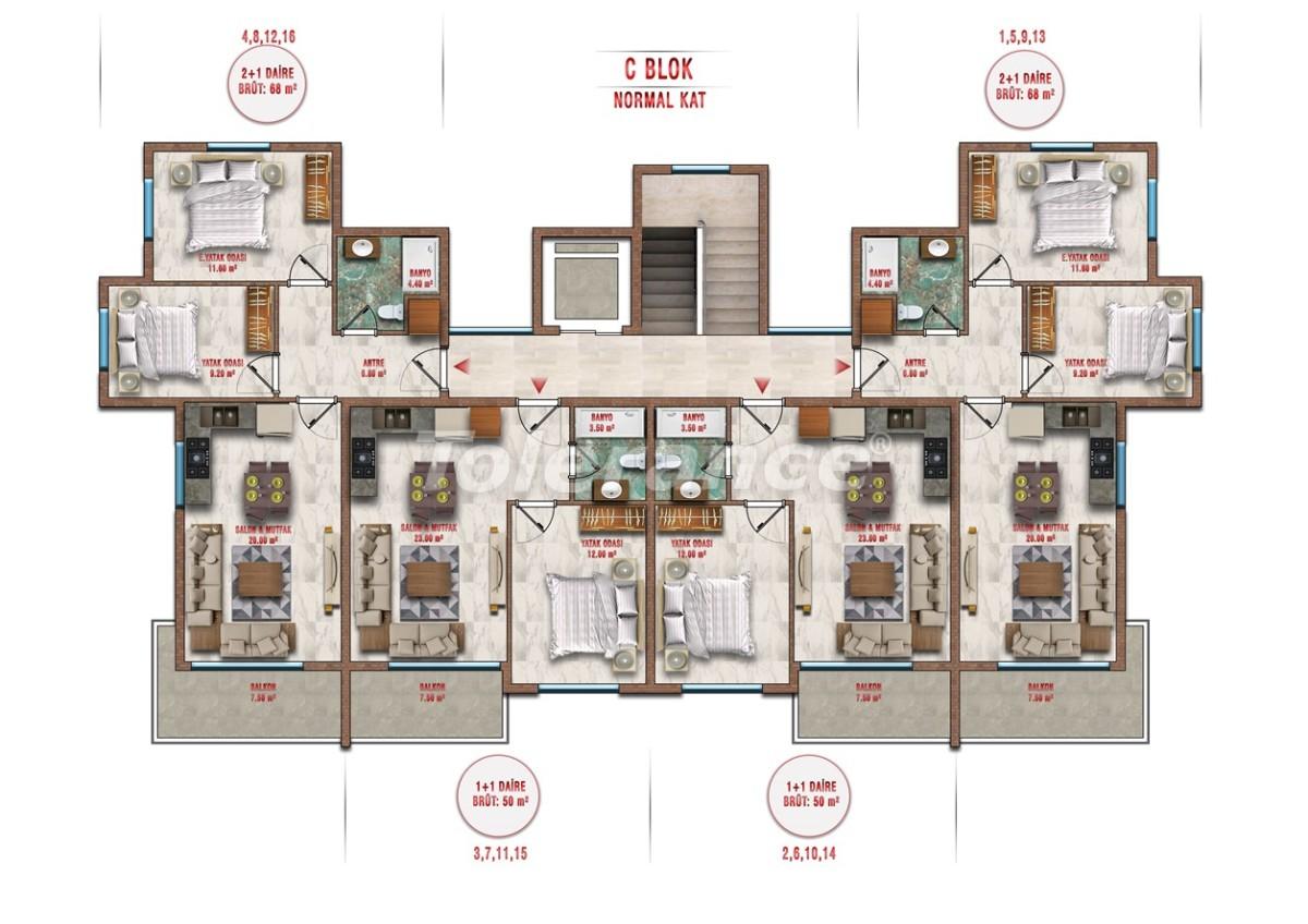 Квартиры в Авсалларе, Алания выгодны для инвестиций с рассрочкой платежа - 40710 | Tolerance Homes