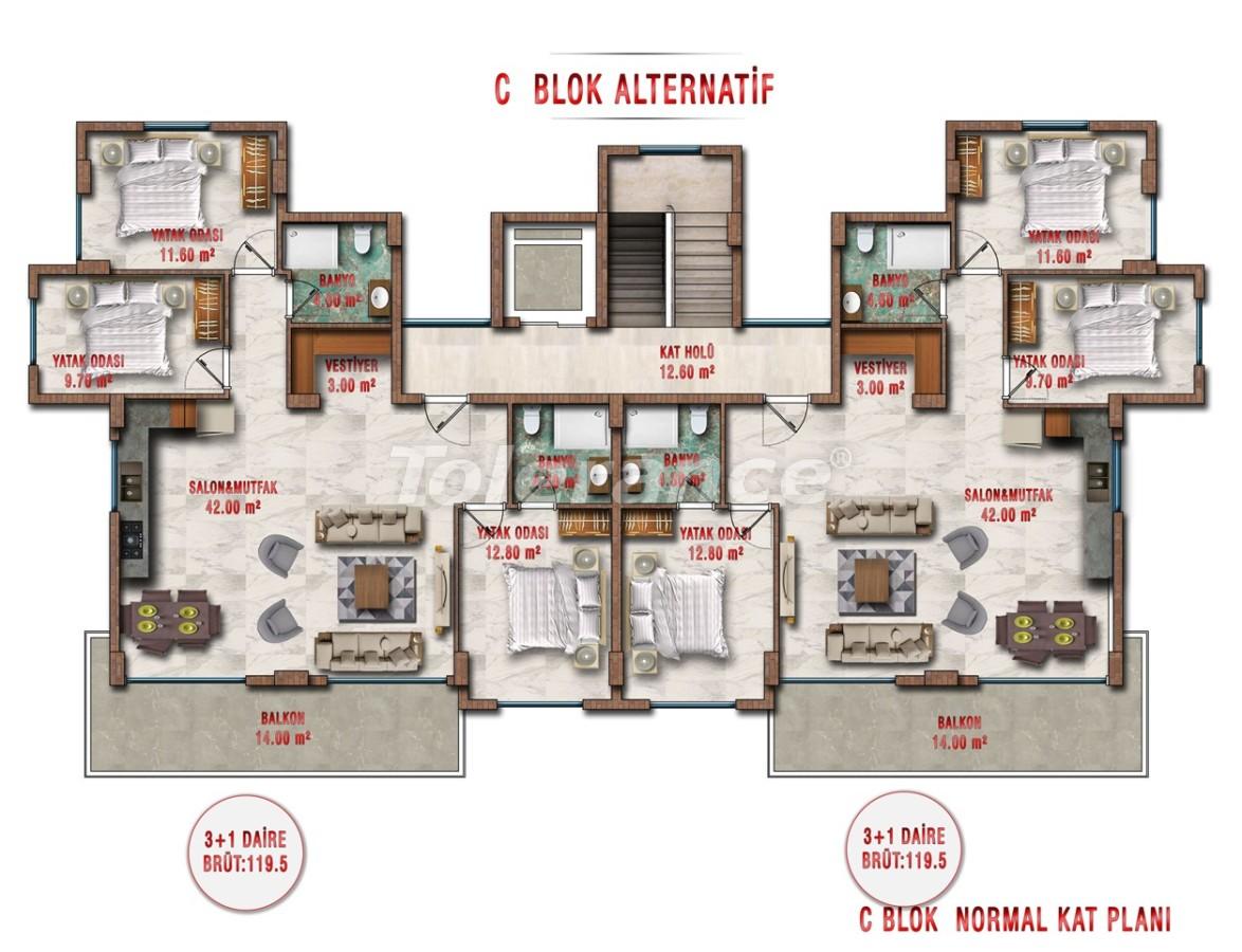 Квартиры в Авсалларе, Алания выгодны для инвестиций с рассрочкой платежа - 40709 | Tolerance Homes