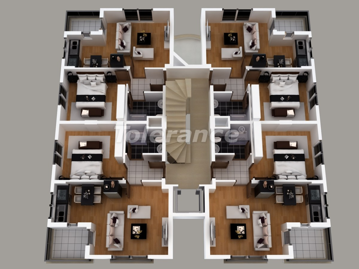 Апартаменты в Хурме, Коньяалты  с установленной системой отопления газом - 1461 | Tolerance Homes