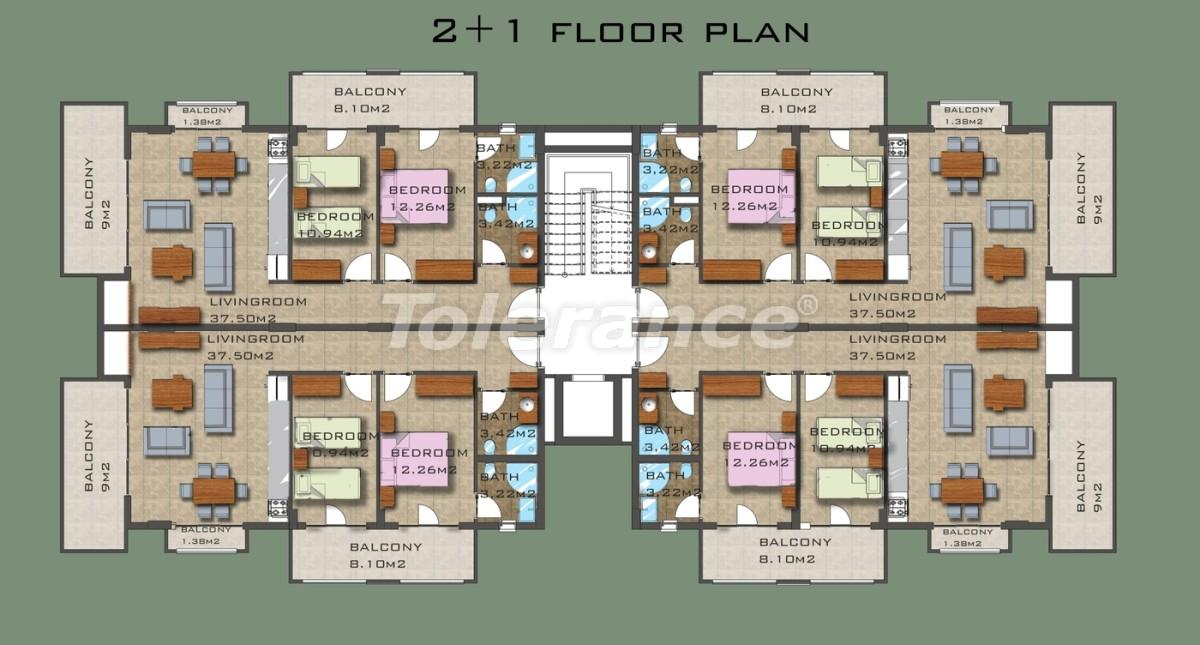 Элитные квартиры в 50 м от пляжа Клеопатры в Аланье - 3367 | Tolerance Homes