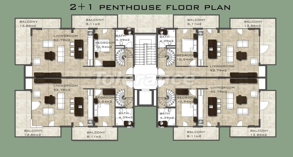 Элитные квартиры в 50 м от пляжа Клеопатры в Аланье - 3366 | Tolerance Homes