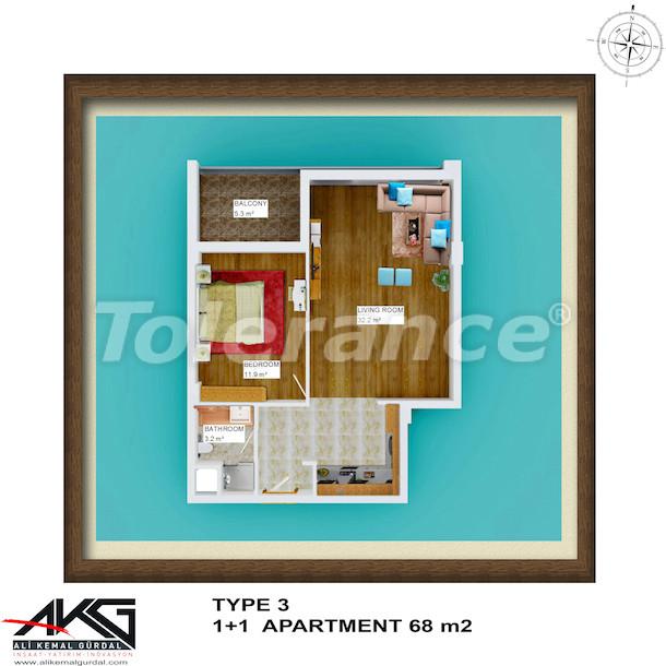 Вторичная двухкомнатная квартира в Лимане, Коньяалты  в доме с бассейном на крыше - 6754 | Tolerance Homes