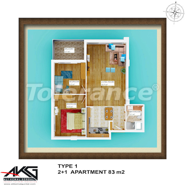 Вторичная двухкомнатная квартира в Лимане, Коньяалты  в доме с бассейном на крыше - 6752 | Tolerance Homes