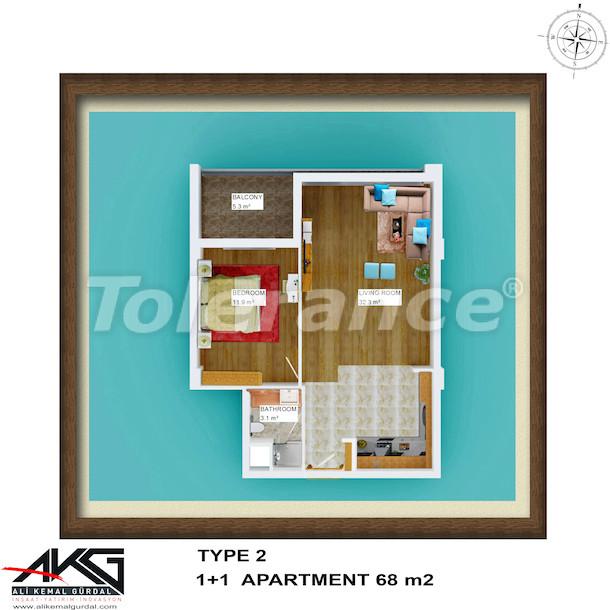 Вторичная двухкомнатная квартира в Лимане, Коньяалты  в доме с бассейном на крыше - 6753 | Tolerance Homes