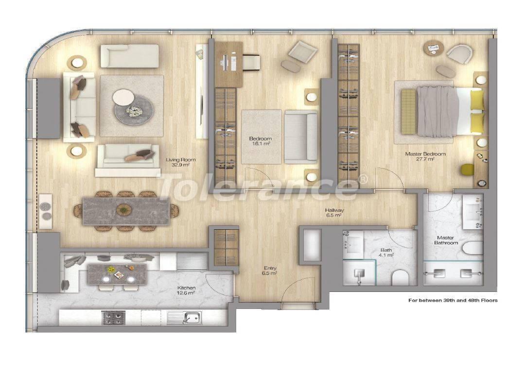 Роскошные квартиры в современном комплексе в Шишли, Стамбул с рассрочкой до 4-х лет с видом на Босфор - 18517 | Tolerance Homes
