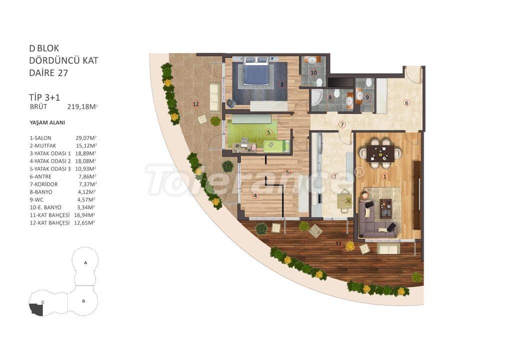 Роскошные апартаменты в центре Стамбула с бассейном, сауной и фитнесом - 16866   Tolerance Homes